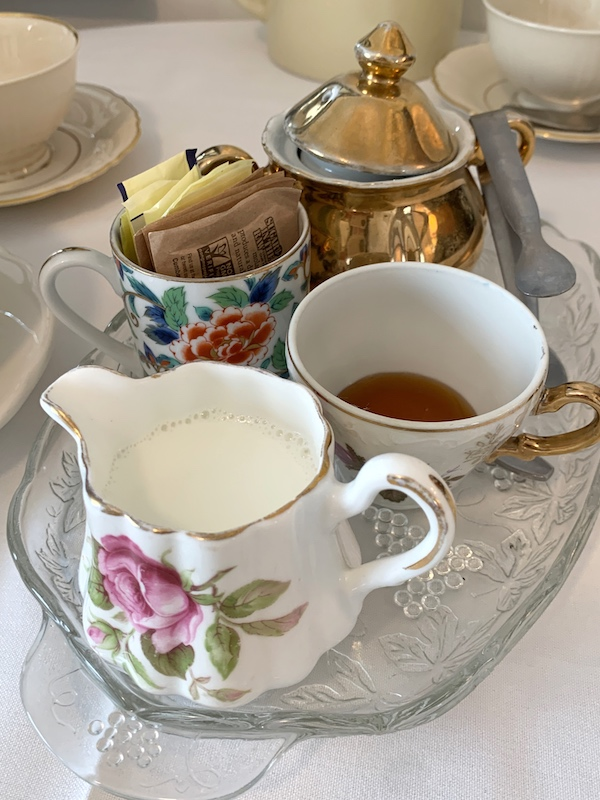 creamer and sweeteners at afternoon tea at Ashes' Boutique and Tea Garden