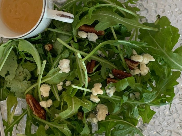 arugula salad at amuse bouche at afternoon tea at Ashes' Boutique and Tea Garden