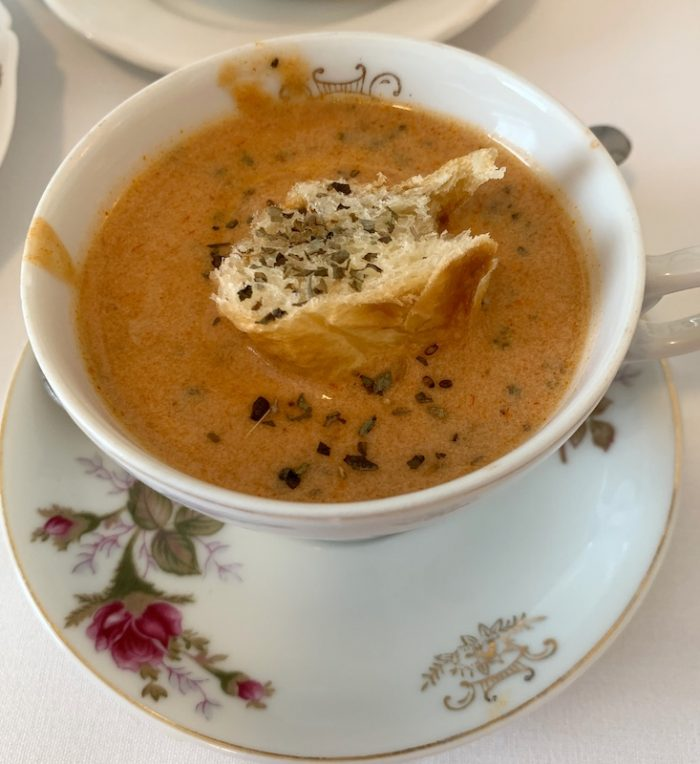 tomato soup at amuse bouche at afternoon tea at Ashes' Boutique and Tea Garden