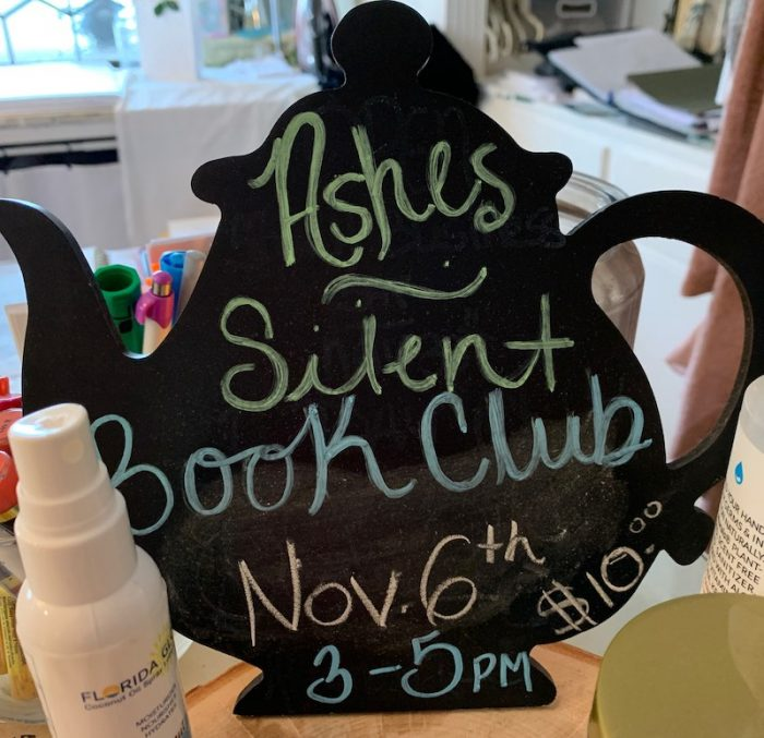 silent book club at amuse bouche at afternoon tea at Ashes' Boutique and Tea Garden