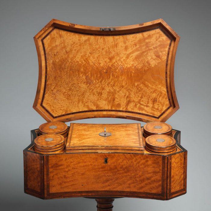 teapoy circa 1790 interior with tea caddies
