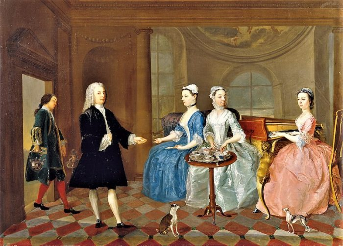 Unknown artist, eighteenth century, A Family Being Served with Tea, ca. 1745, Oil on canvas, Yale Center for British Art, Paul Mellon Collection