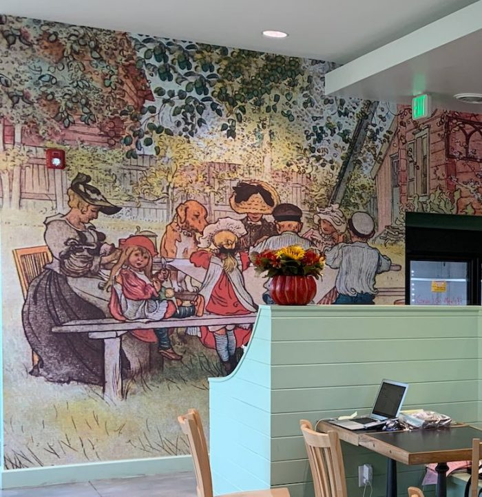 local mural at Dreamcakes Cafe in Hoover, AL for afternoon tea