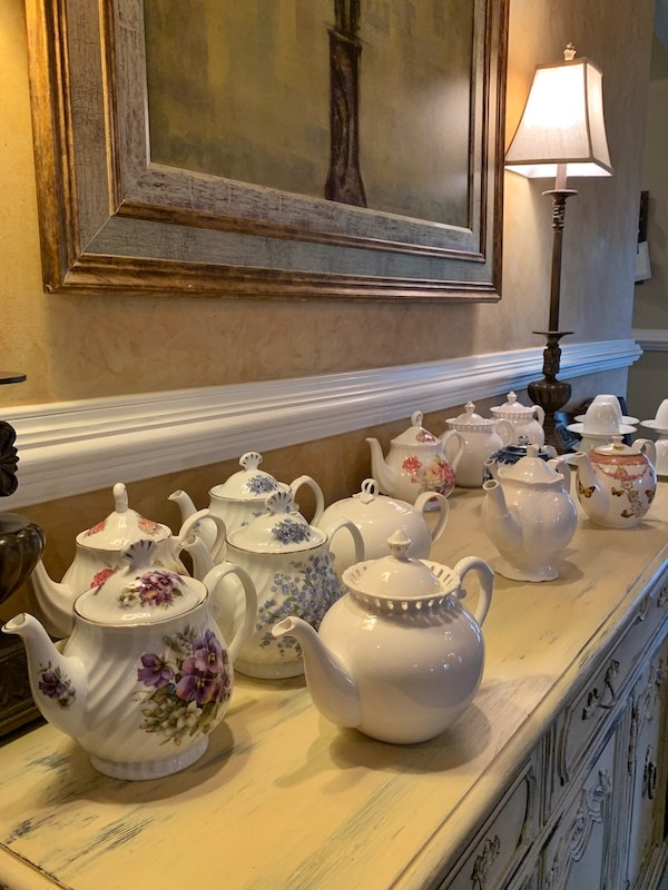 teapots at The Cottage on Main for holiday tea in Duluth, GA
