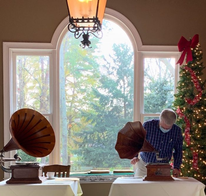 Phonographs at The Cottage on Main for holiday tea in Duluth, GA