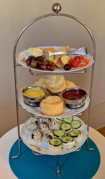 three-tiered tray at Afternoon Tea at Auntie Rae's Dessert Island in Utah