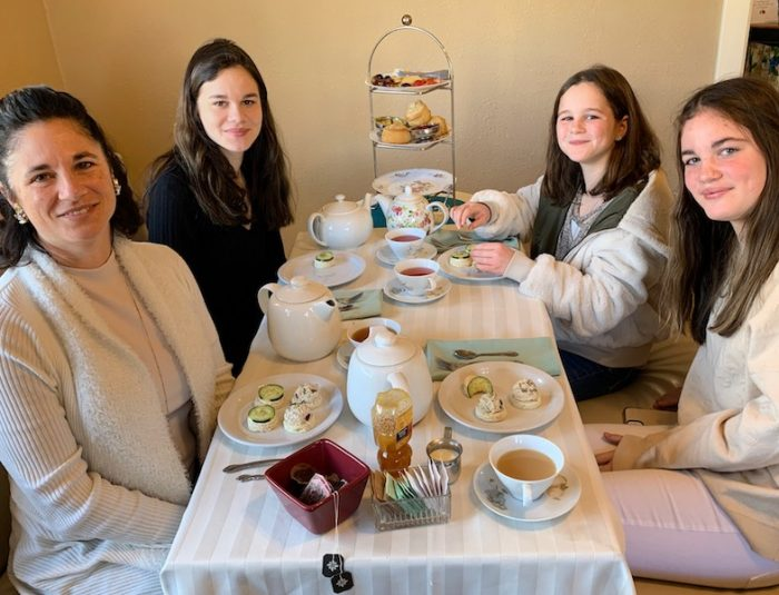 our family at Afternoon Tea at Auntie Rae's Dessert Island in Utah