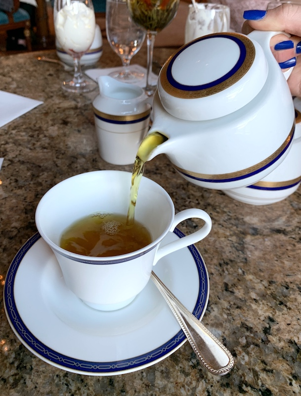 tea poured at afternoon tea at Grand America Hotel in Salt Lake City