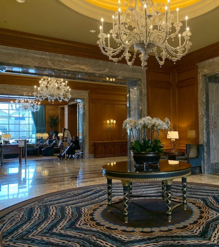 front lobby at afternoon tea at Grand America Hotel in Salt Lake City