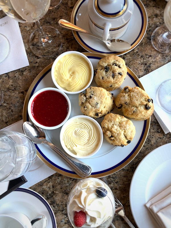scones at afternoon tea at Grand America Hotel in Salt Lake City