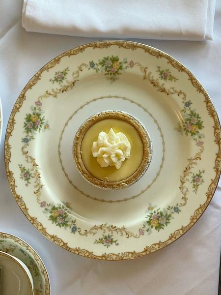 lemon tart at afternoon tea at Belleair Cafe in Belleair Bluffs, Florida