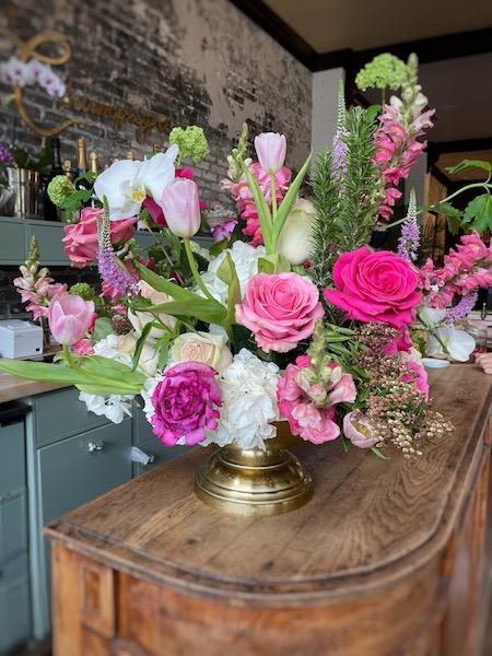 gorgeous flower arrangement at afternoon tea at Oxford Exchange in Tampa, FL