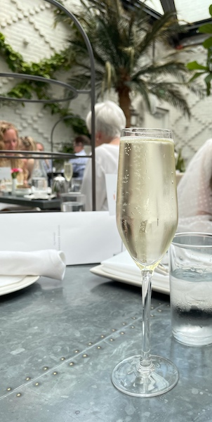 champagne at afternoon tea at Oxford Exchange in Tampa, FL