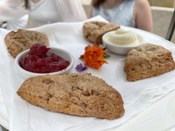 brown sugar scones at afternoon tea at Oxford Exchange in Tampa, FL