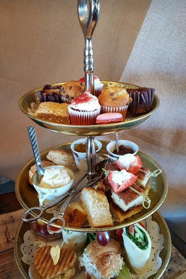 Grand Teatime at afternoon tea at Rustic Root Tea Room in Beach Grove, Indiana