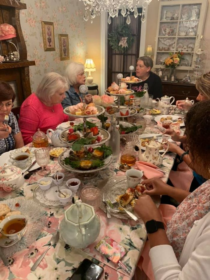 tea party at afternoon tea at Rustic Root Tea Room in Beach Grove, Indiana
