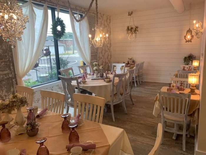 Lilac Room at afternoon tea at Rustic Root Tea Room in Beach Grove, Indiana