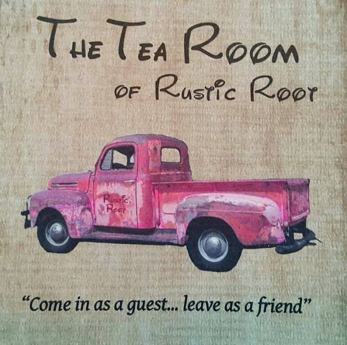 logo at Rustic Root Tea Room in Beach Grove, Indiana