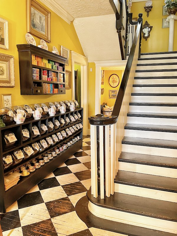inner staircase at afternoon tea at Chelsea's on Thornton in Dalton, GA
