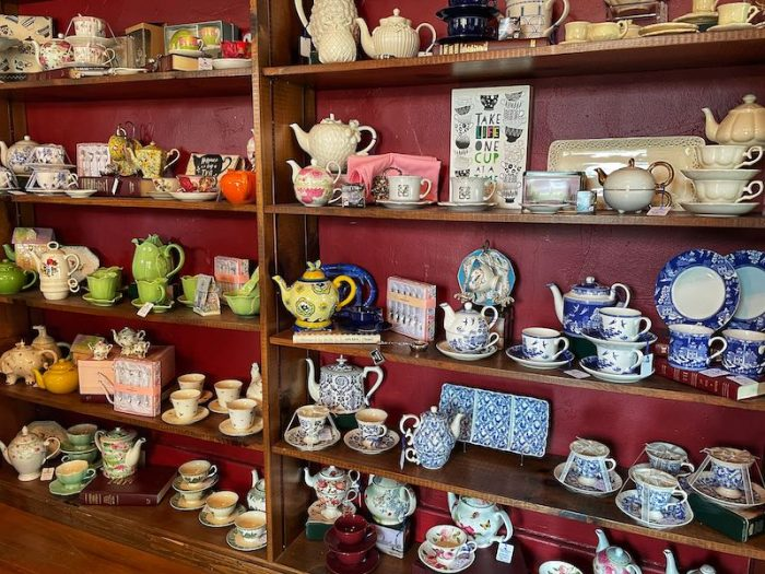 teapots for sale at afternoon tea at Chelsea's on Thornton in Dalton, GA