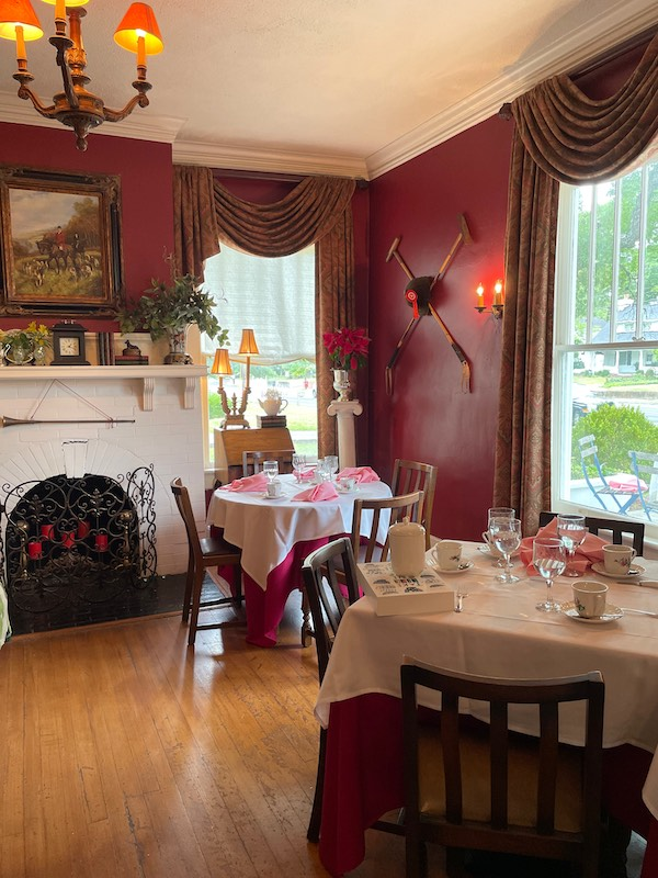 red room at at afternoon tea at Chelsea's on Thornton in Dalton, GA