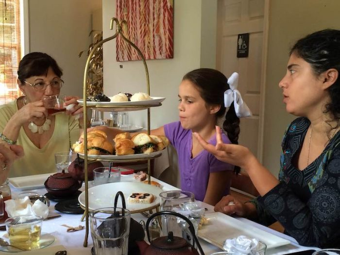 family together at afternoon tea