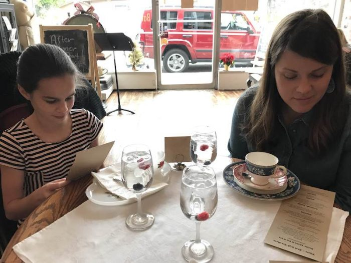 niece and aunt at afternoon tea