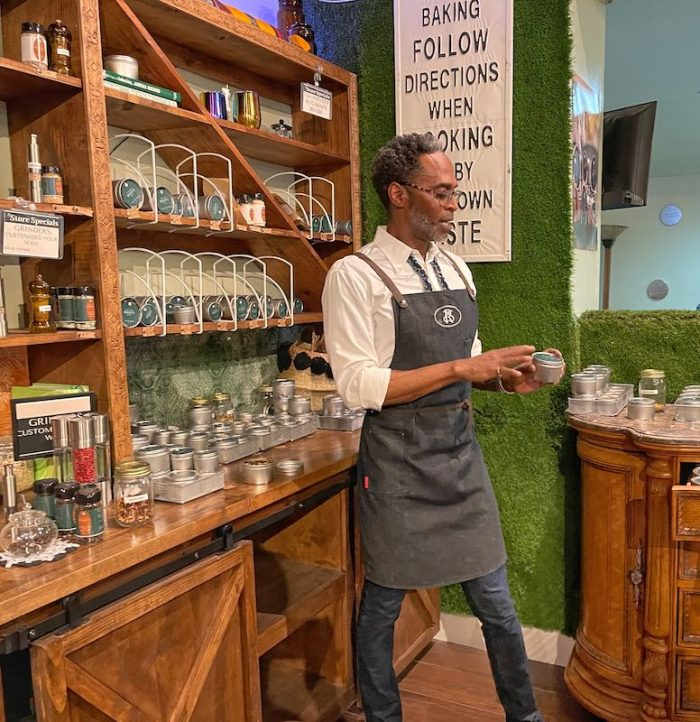 sampling teas at Southern Roots Spice Shop in Chamblee, GA
