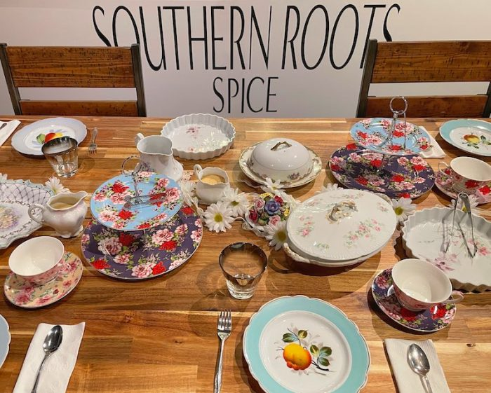 vintage china at Southern Roots Spice Shop in Chamblee, GA
