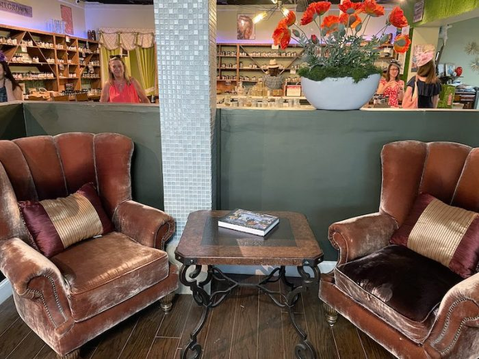 seating at Southern Roots Spice Shop in Chamblee, GA