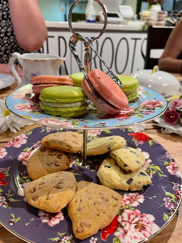 scones and macarons at tea party at Southern Roots Spice Shop in Chamblee, GA
