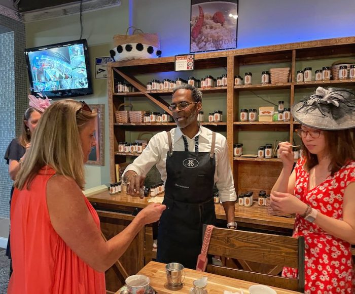 tasting spices at tea party at Southern Roots Spice Shop in Chamblee, GA