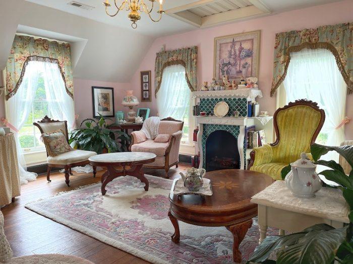 upper sitting room at afternoon tea at Stillwater Tea House in Suffolk, VA