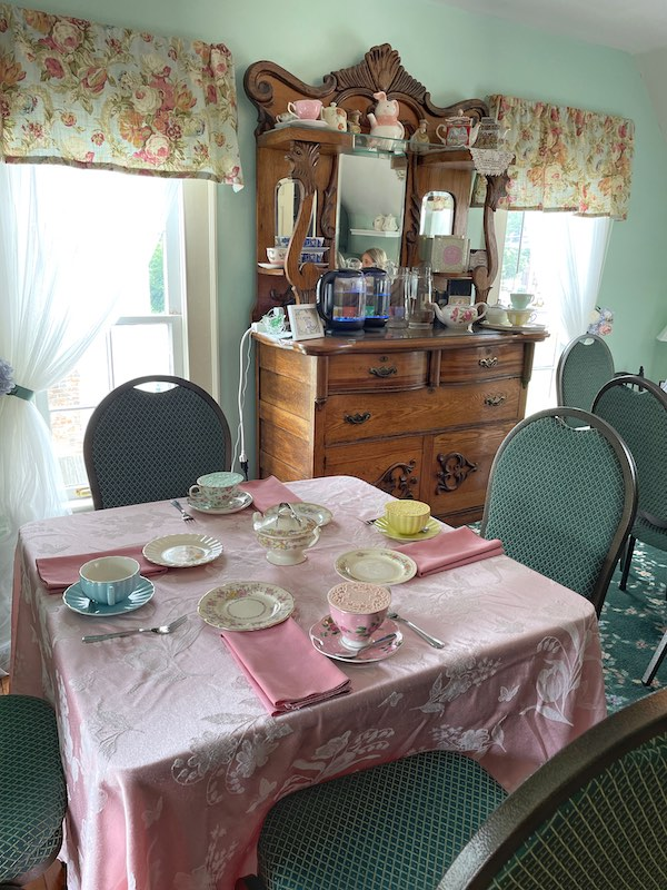 our tea table at afternoon tea at Stillwater Tea House in Suffolk, VA
