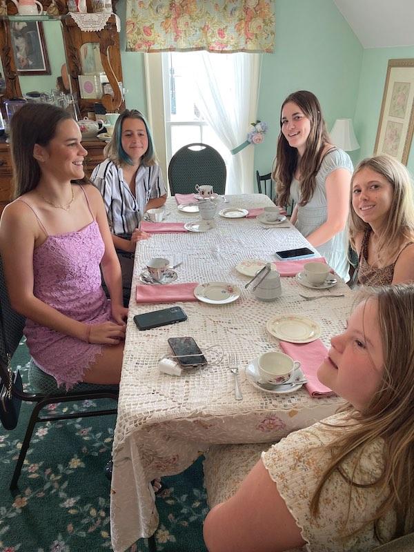 cousins at afternoon tea at Stillwater Tea House in Suffolk, VA