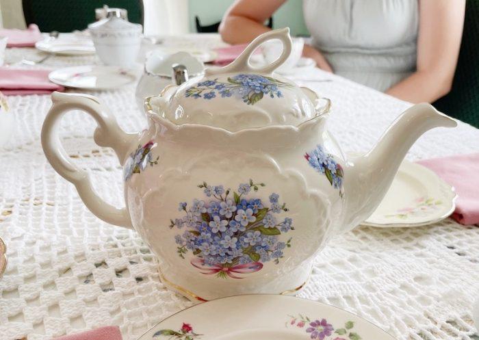 beautiful Crown Dorset teapot at afternoon tea at Stillwater Tea House in Suffolk, VA