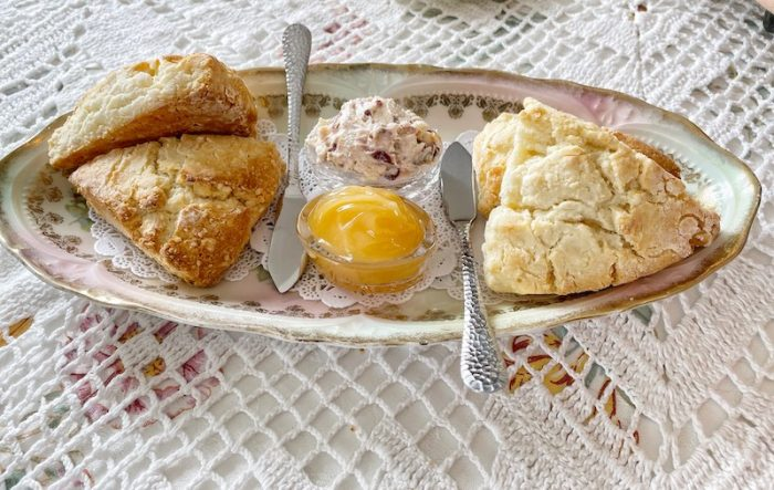 Scones with spreads at afternoon tea at Stillwater Tea House in Suffolk, VA