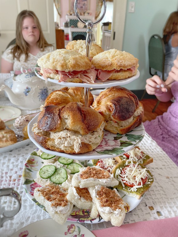 savory and tea sandwich course at afternoon tea at Stillwater Tea House in Suffolk, VA