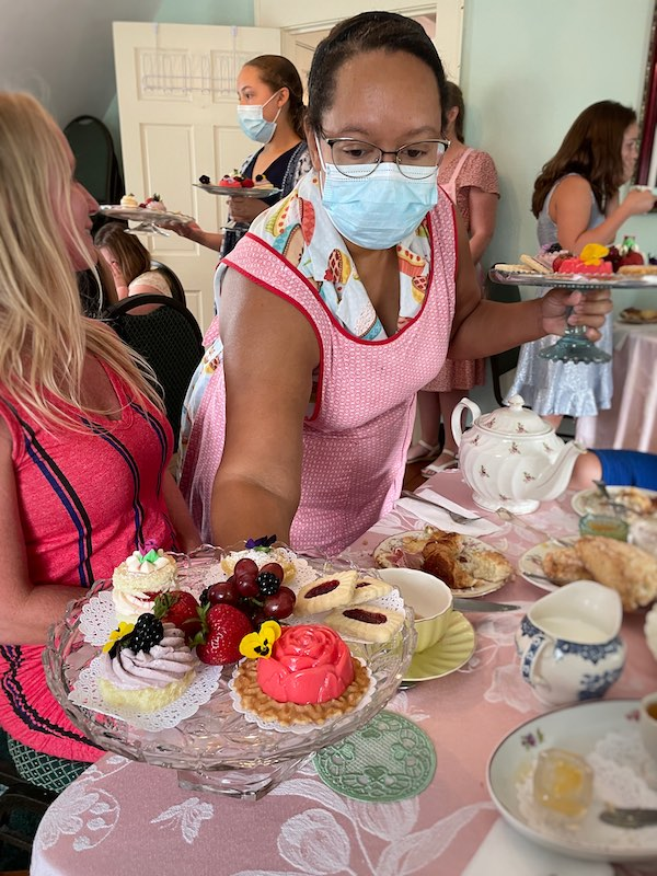 Amy Ford of afternoon tea at Stillwater Tea House in Suffolk, VA