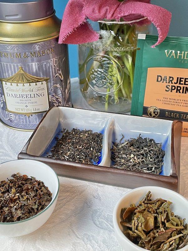 tasting two Darjeeling teas
