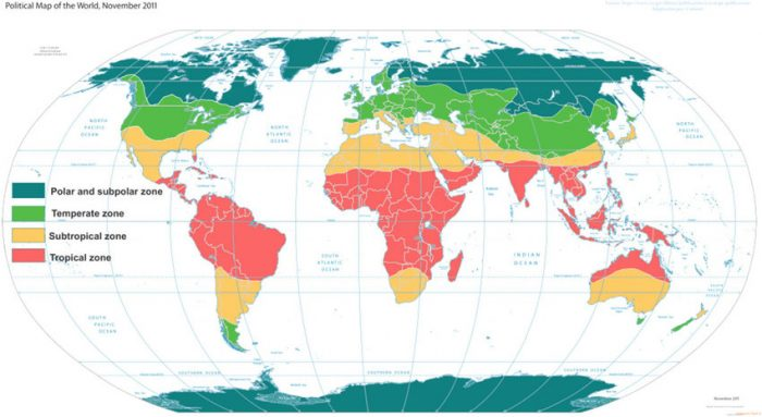 Meteoblue's map of climate zones