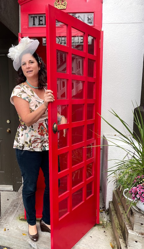 telephone booth at afternoon tea at The Book & Bee Cafe & Tea in Hendersonville