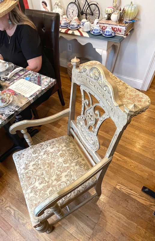 antique chair at afternoon tea at The Book & Bee Cafe & Tea in Hendersonville