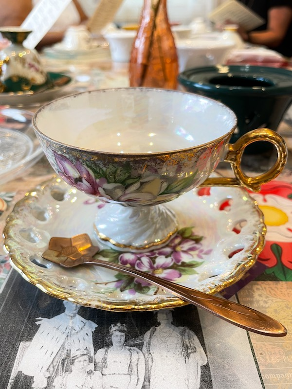 pedestal teacup at afternoon tea at The Book & Bee Cafe & Tea in Hendersonville