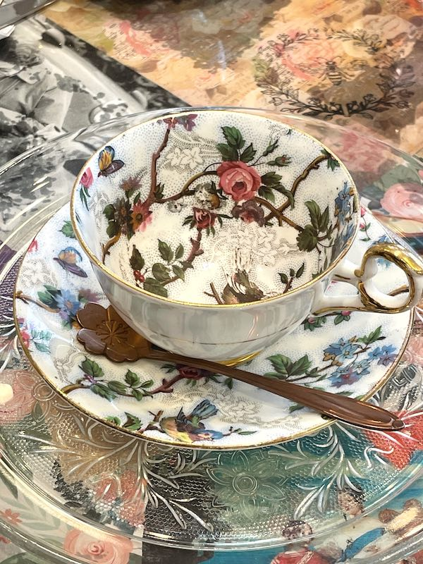 teacup at afternoon tea at The Book & Bee Cafe & Tea in Hendersonville