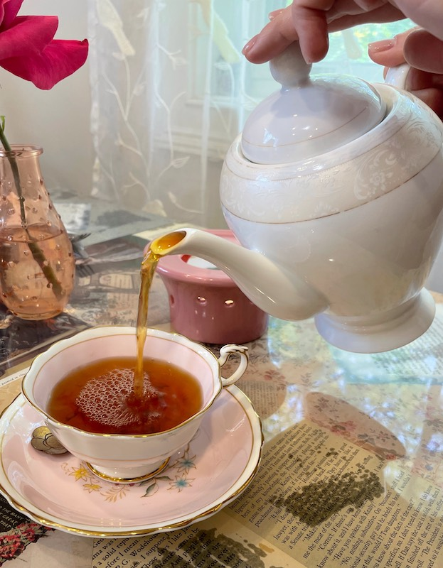 tea poured at afternoon tea at The Book & Bee Cafe & Tea in Hendersonville