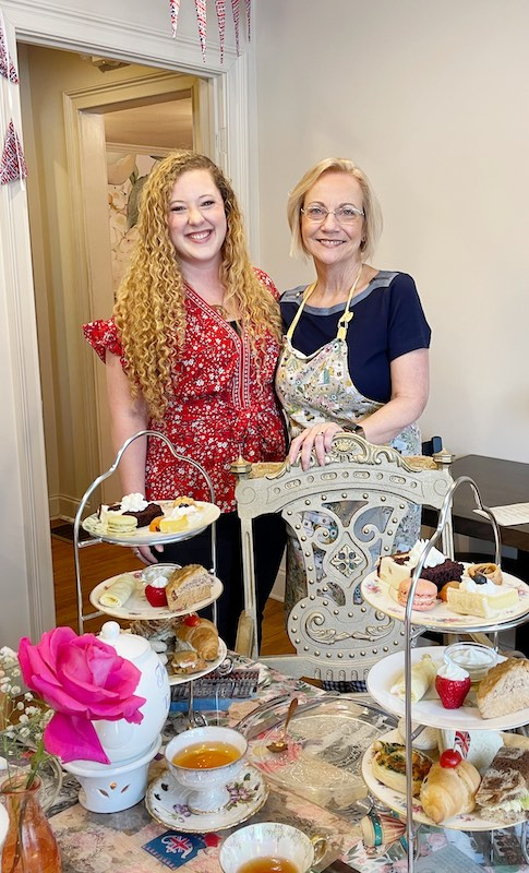 owners Victoria and Lesley at afternoon tea at The Book & Bee Cafe & Tea in Hendersonville