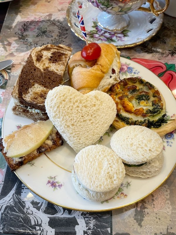 finger sandwiches at afternoon tea at The Book & Bee Cafe & Tea in Hendersonville