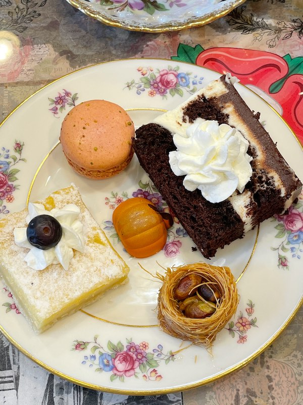 desserts at afternoon tea at The Book & Bee Cafe & Tea in Hendersonville