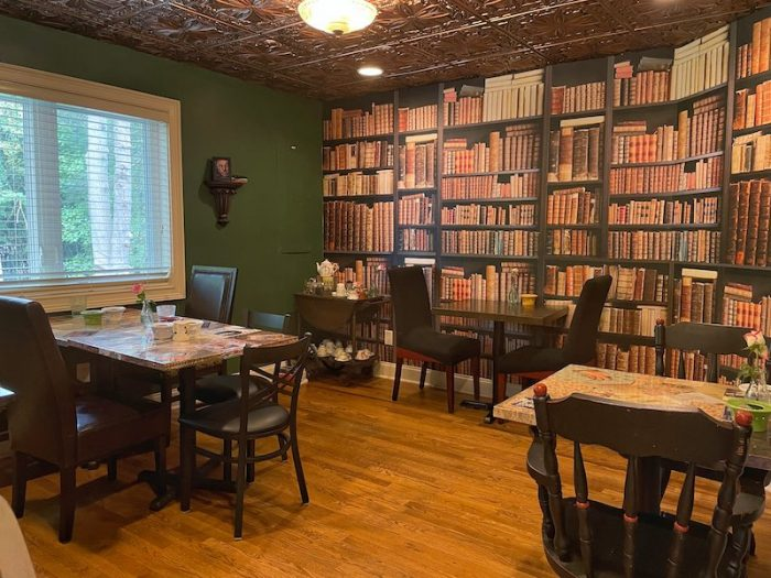 The Eagle & Child room at afternoon tea at The Book & Bee Cafe & Tea in Hendersonville